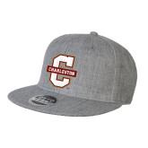 Heather Grey Wool Blend Flat Bill Snapback Hat-Official Logo - C Charleston