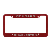 Metal Maroon License Plate Frame-Cougars