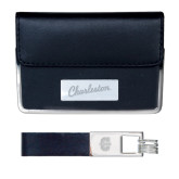Business Card Case and Key Ring Set Black-Charleston Script Engraved