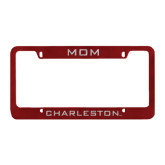 Mom Metal Maroon License Plate Frame-Mom