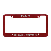Dad Metal Maroon License Plate Frame-Dad