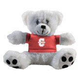 Plush Big Paw 8 1/2 inch White Bear w/Pink Shirt-Official Logo - C Charleston