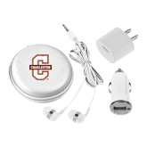 3 in 1 White Audio Travel Kit-Official Logo - C Charleston