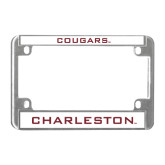 Metal Motorcycle License Plate Frame in Chrome-Cougars