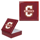 Red Mahogany Accessory Box With 6 x 6 Tile-Official Logo - C Charleston