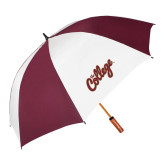 62 Inch Maroon/White Umbrella-The College Script
