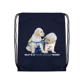 Navy Drawstring Backpack-Help is a Four Legged Word
