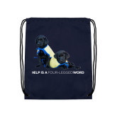 Navy Drawstring Backpack-Help is a Four Legged Word Black Labs