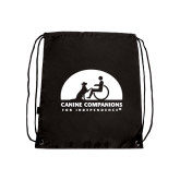 Nylon Black Drawstring Backpack-