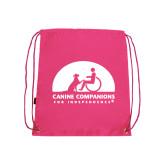 Nylon Pink Drawstring Backpack-