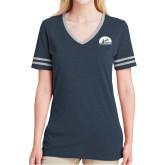 Ladies Navy Heather/Grey Tri Blend Varsity Tee-
