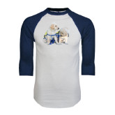 White/Navy Raglan Baseball T-Shirt-Two Puppies