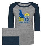 ENZA Ladies Athletic Heather/Navy Vintage Triblend Baseball Tee-Dog Fest Tall
