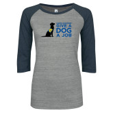 ENZA Ladies Athletic Heather/Navy Vintage Triblend Baseball Tee-Give a Dog a Job