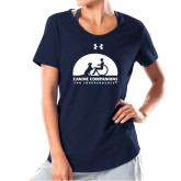 Ladies Under Armour Navy Charged Cotton Tee-