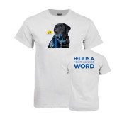 White T Shirt-Dog with Leash