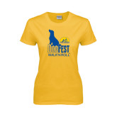 Ladies Gold T Shirt-Dog Fest Tall