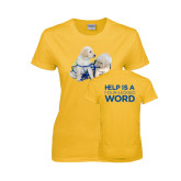 Ladies Gold T Shirt-Two Puppies