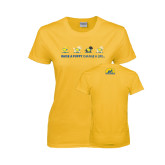 Ladies Gold T Shirt-Cartoon Puppies