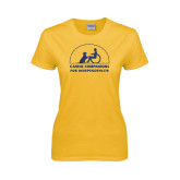 Ladies Gold T Shirt-Dark Blue Glitter