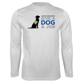 Performance White Longsleeve Shirt-Give a Dog a Job