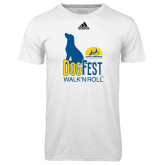 Adidas Climalite White Ultimate Performance Tee-Dog Fest Tall