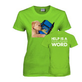 Ladies Lime Green T Shirt-Dog Sleeping