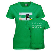 Ladies Kelly Green T Shirt-Dog on Fence