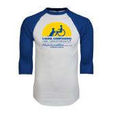 White/Royal Raglan Baseball T Shirt-Kinkeade Campus