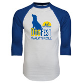 White/Royal Raglan Baseball T Shirt-Dog Fest Tall