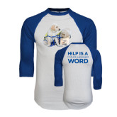 White/Royal Raglan Baseball T Shirt-Two Puppies
