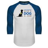 White/Royal Raglan Baseball T Shirt-Give a Dog a Job