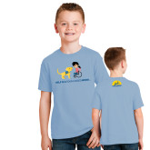 Youth Light Blue T Shirt-Cartoon Dog and Lady