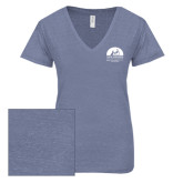 ENZA Ladies Surfer Blue Melange V Neck Tee-Kinkeade Campus