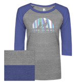 ENZA Ladies Athletic Heather/Blue Vintage Baseball Tee-Foil