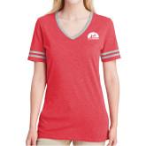 Ladies Red Heather/Grey Tri Blend Varsity Tee-