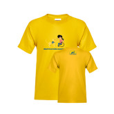 Youth Gold T Shirt-Cartoon Dog and Lady