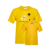 Youth Gold T Shirt-Cartoon Dog and Boy