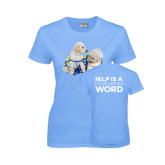 Ladies Sky Blue T Shirt-Two Puppies
