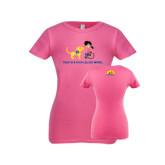 Next Level Girls Fuchsia Fashion Fit T Shirt-Cartoon Dog and Lady