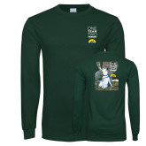 Dark Green Long Sleeve T Shirt-One Team Two Heroes Stacked