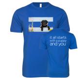 Next Level SoftStyle Royal T Shirt-Dog on Fence