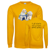 Gold Long Sleeve T Shirt-Two Puppies