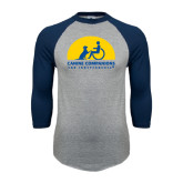 Grey/Navy Raglan Baseball T Shirt-