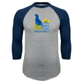 Grey/Navy Raglan Baseball T Shirt-Dog Fest Tall