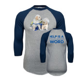 Grey/Navy Raglan Baseball T Shirt-Two Puppies