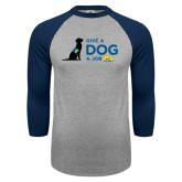 Grey/Navy Raglan Baseball T Shirt-Give a Dog a Job