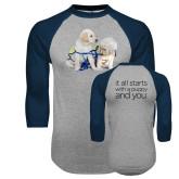 Grey/Navy Raglan Baseball T Shirt-Two Puppies