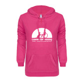 ENZA Ladies Hot Pink V Notch Raw Edge Fleece Hoodie-