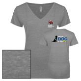 ENZA Ladies Graphite Melange V Neck Tee-Canine Companions Strong